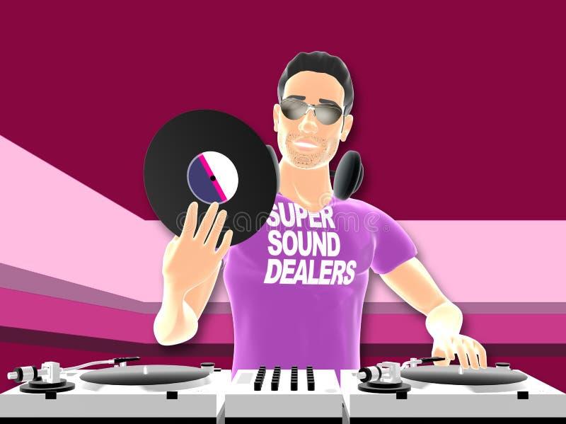 DJ mixing stock illustration