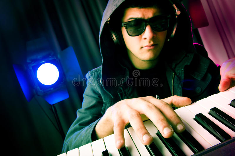 DJ mixing music royalty free stock photo