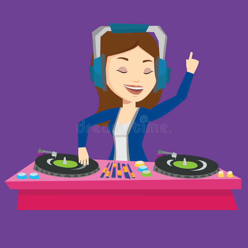 DJ mixing music on turntables vector illustration. Young female DJ mixing music on turntables. DJ playing and mixing music on deck. Caucasian DJ in headphones royalty free illustration