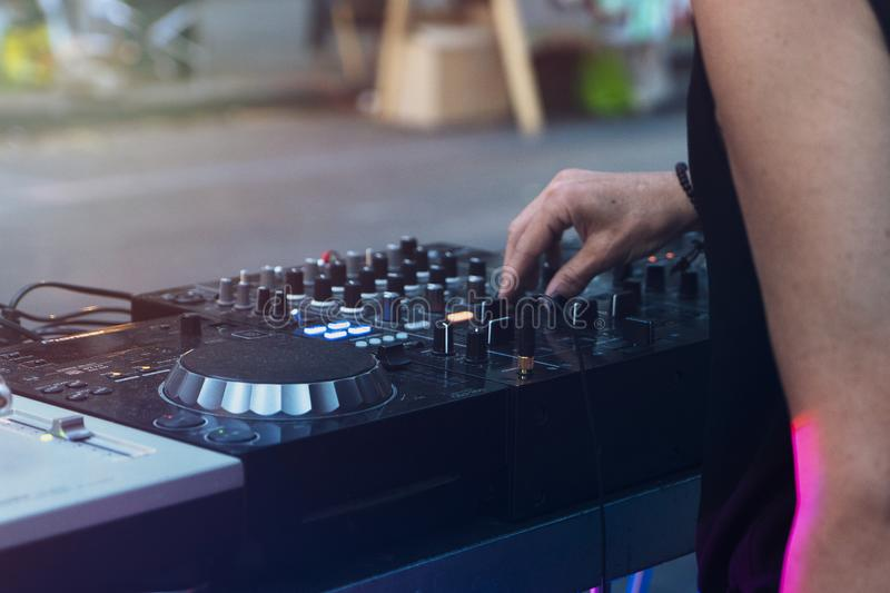 Dj mixing outdoor with in the afternoo royalty free stock photos