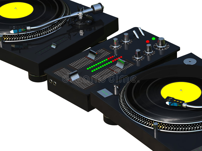 DJ mixing set close up royalty free illustration