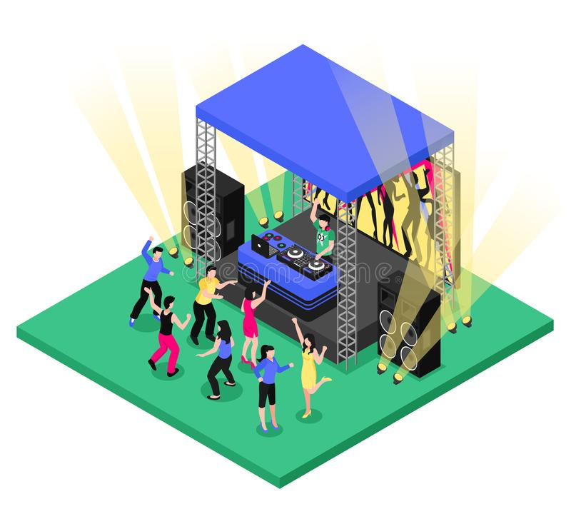 DJ Music Isometric Composition. Outdoor party festival event dj music equipment tent installation isometric composition with dancing people vector illustration stock illustration