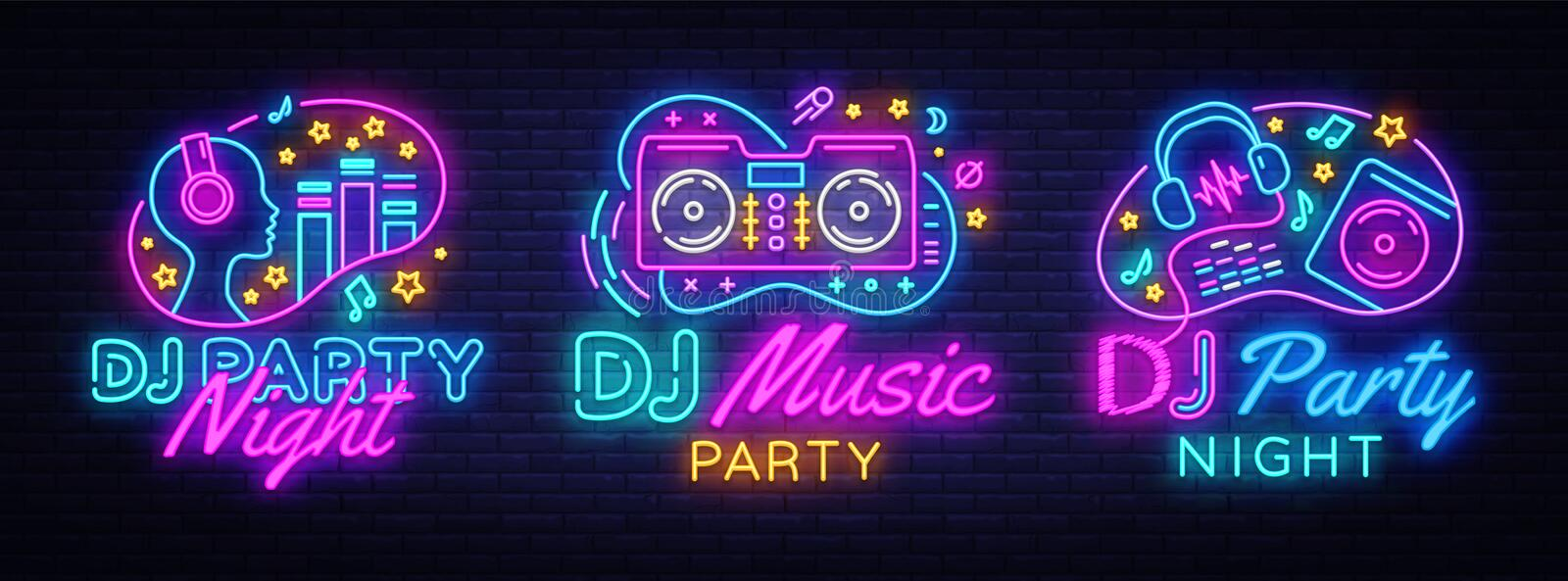 DJ Music Party neon sign collection vector design template. DJ Concept of music, radio and live concert, neon poster. Light banner design element colorful stock illustration