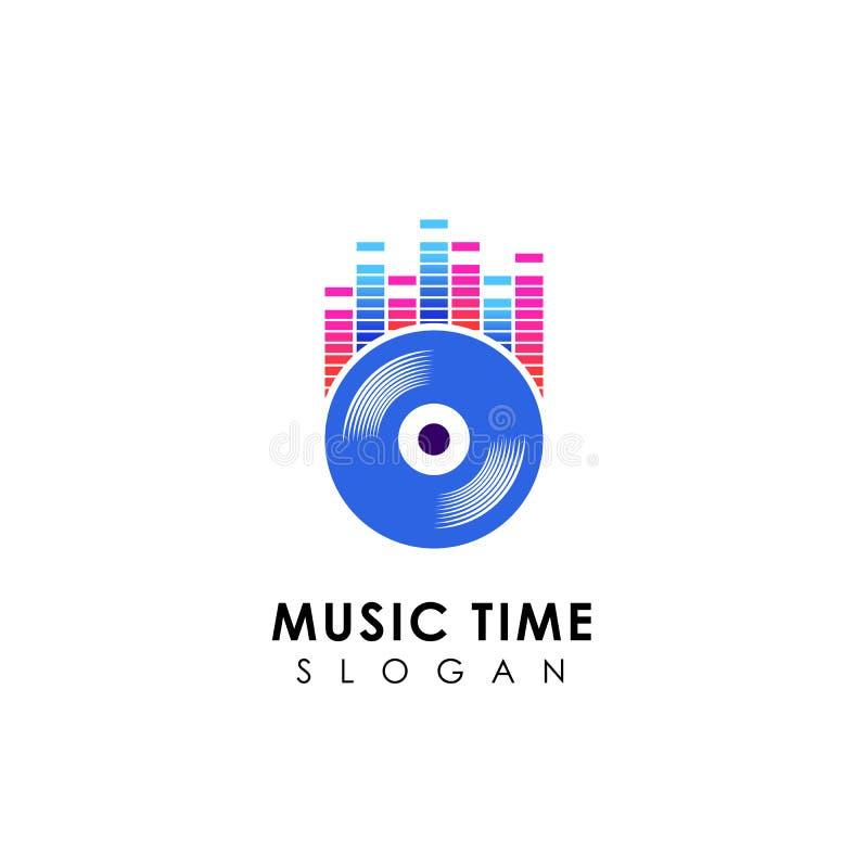 DJ-Musiklogoentwurf mit Vinyldiskettenillustration Vinylmusik-Ikonenentwürfe stock abbildung