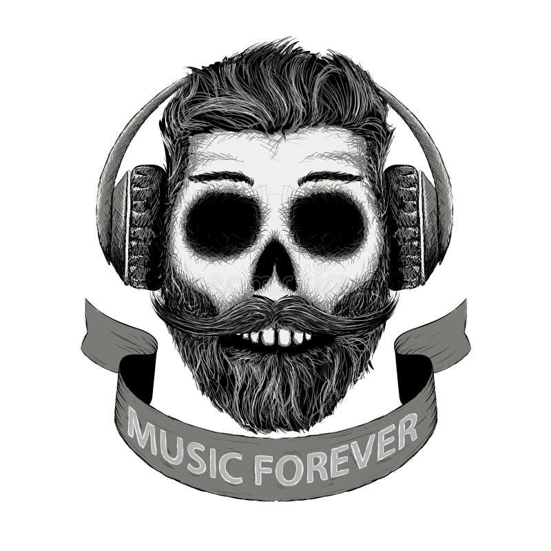 Dj muzyczna ikona w ręka rysującym stylu ilustracji