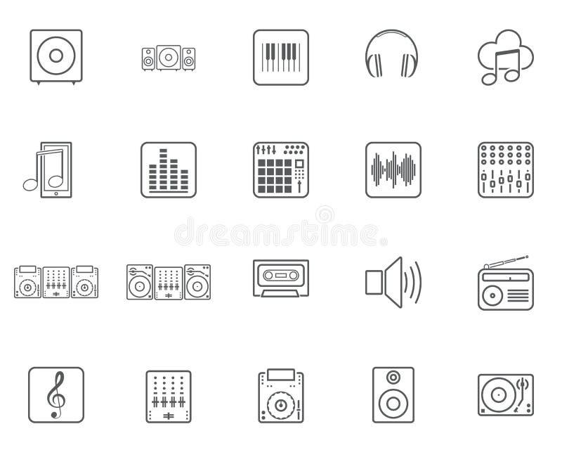 Dj muzyki linii ikony ustawiać royalty ilustracja