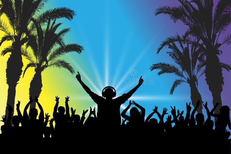 DJ no fundo da multidão de dança partido da praia Silhuetas, ilustra??o do vetor ilustração stock