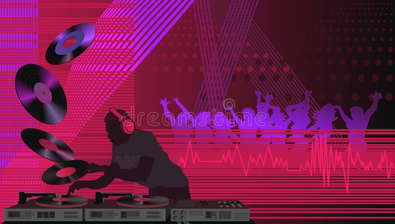 DJ op de Algemene Vergadering vector illustratie