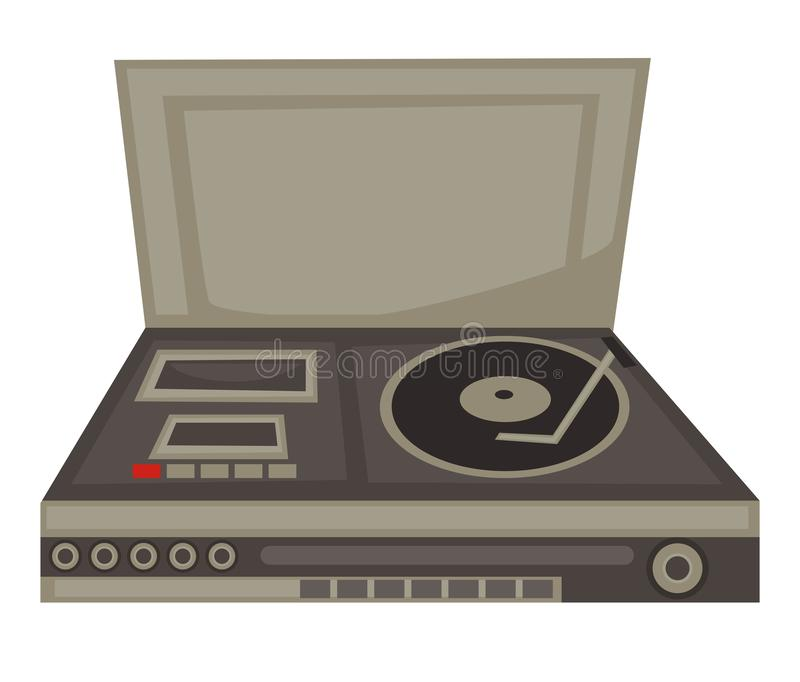DJ panel of 70s, vinyl disc and cassette player, buttons vector illustration