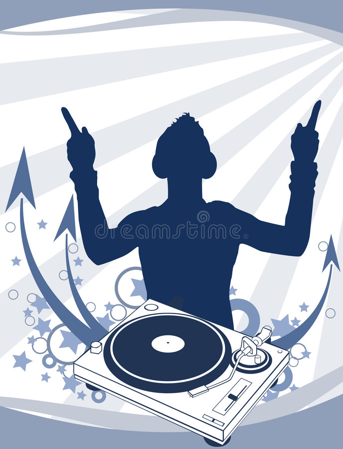 DJ on the Party. Aabstraction. DJ (Disc Jockey) and a turntable. Aabstraction. Vector Illustrate 8 EPS royalty free illustration