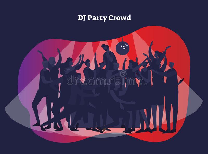 DJ party crowd vector illustration. Adult friends and couples enjoying life, club, celebration and active entertainment with light vector illustration