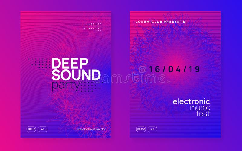 Neon club flyer. Electro dance music. Trance party dj. Electronic sound fest. Techno event poster. Dj party. Dynamic gradient shape and line. Modern show vector illustration