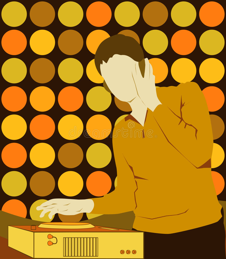 DJ on the Party. Gold. DJ (Disc Jockey) and a turntable. Vector Illustrate 8 EPS stock illustration