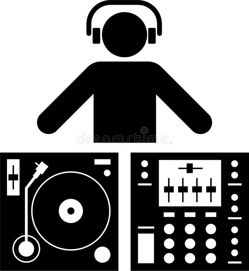 dj-pictogram vektor illustrationer