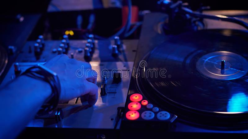Dj play music at hip hop party. stock photography