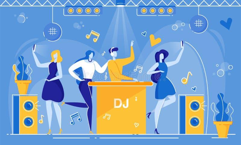 DJ Play Music Woman Fangirl Weź Sselfie NightClub royalty ilustracja