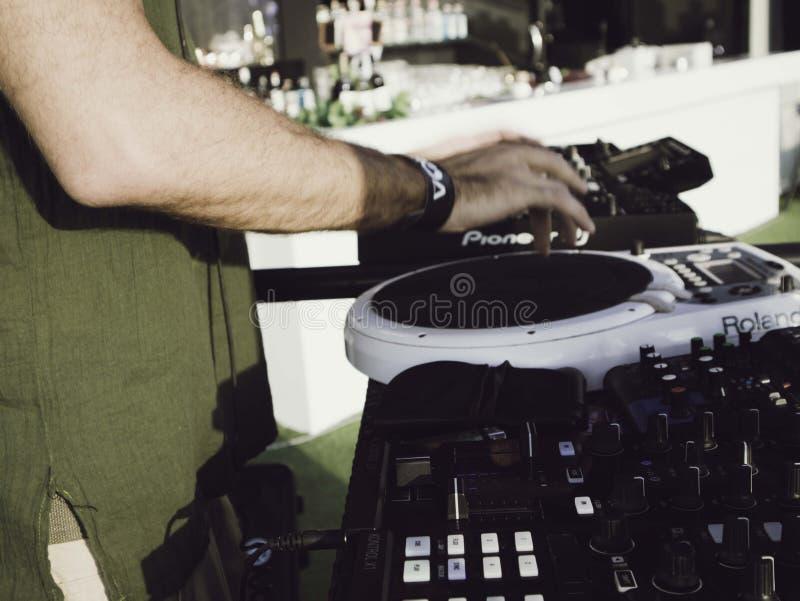 DJ playing At The Club, celebrating full Moon Party, Koh Phangan, Surat thani, Thailand, January, 2019 stock images