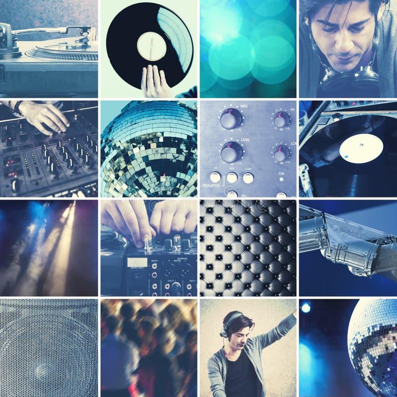 DJ playing music collage royalty free stock image