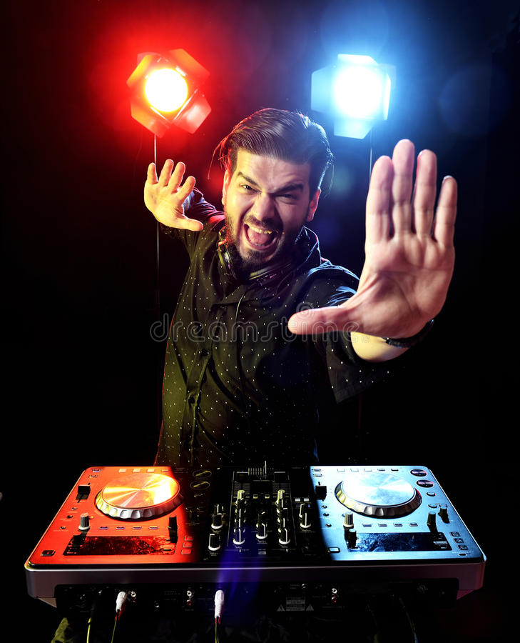 Download DJ playing music stock illustration. Image of crazy, male - 38719380