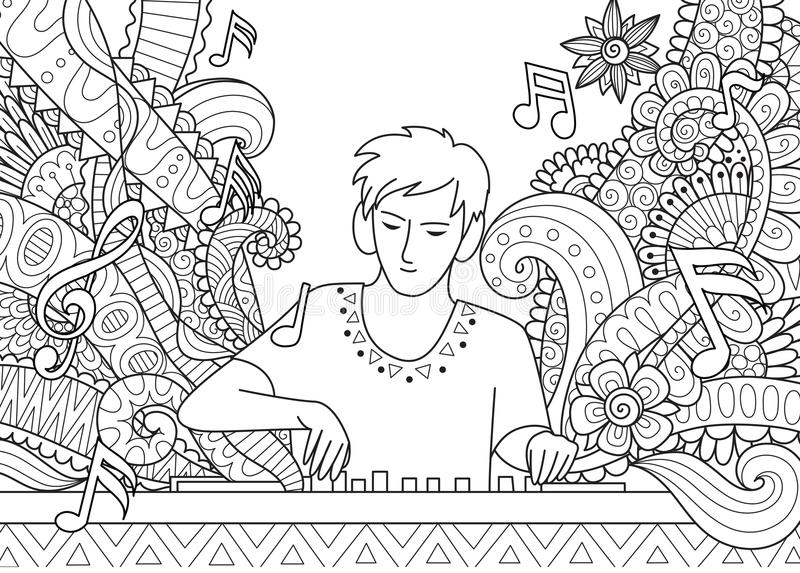 Dj playing music line art design for adult coloring book page royalty free illustration