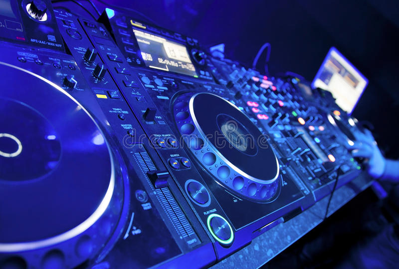 Download Dj playing the track stock illustration. Image of hands - 27569517