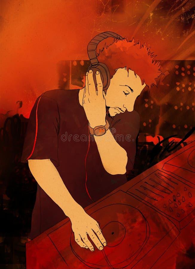DJ que joga o jogo ilustração do vetor