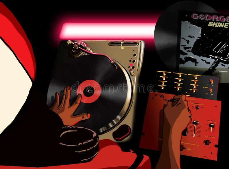 DJ que joga um registro ilustração royalty free