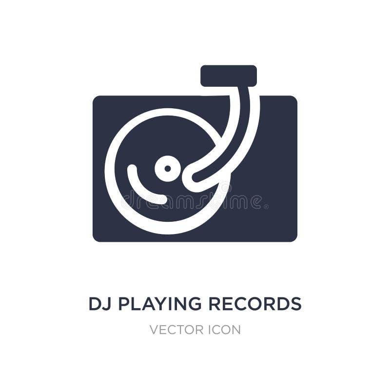 DJ que juega el icono de los expedientes en el fondo blanco Ejemplo simple del elemento del concepto del partido ilustración del vector