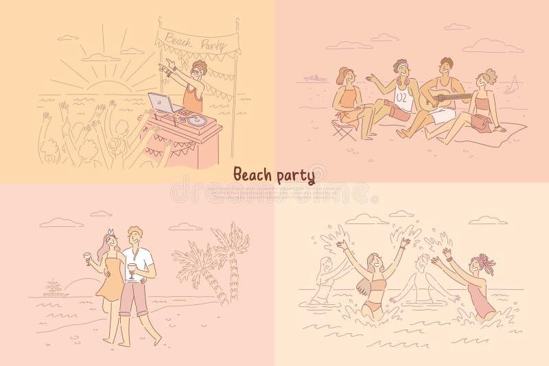 DJ que juega la música en directo para la gente, grupo de amigos que se sientan en la orilla que toca la guitarra y que habla, ju libre illustration