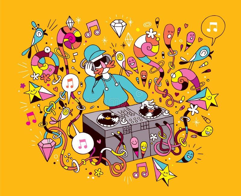 DJ que juega música de mezcla en el ejemplo de la historieta de la placa giratoria del vinilo ilustración del vector