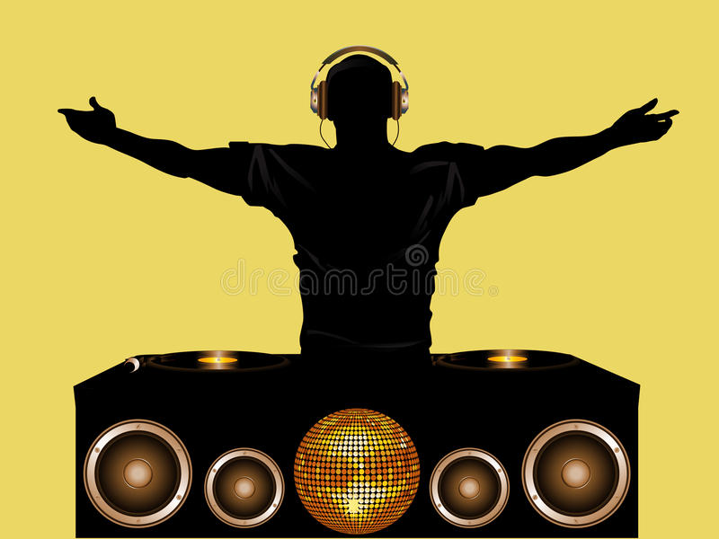 Dj And Record Decks With Speakers Stock Illustration