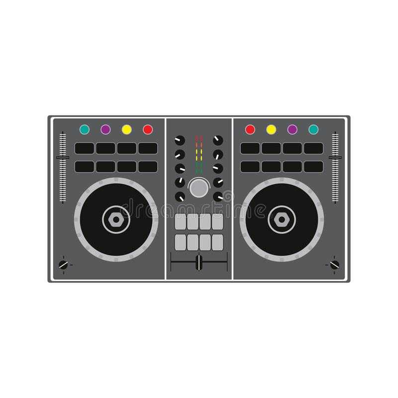 DJ remote for playing and mixing music. Vector illustration. stock illustration