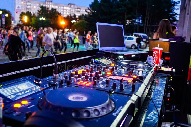 DJ remote, street evening party stock photography