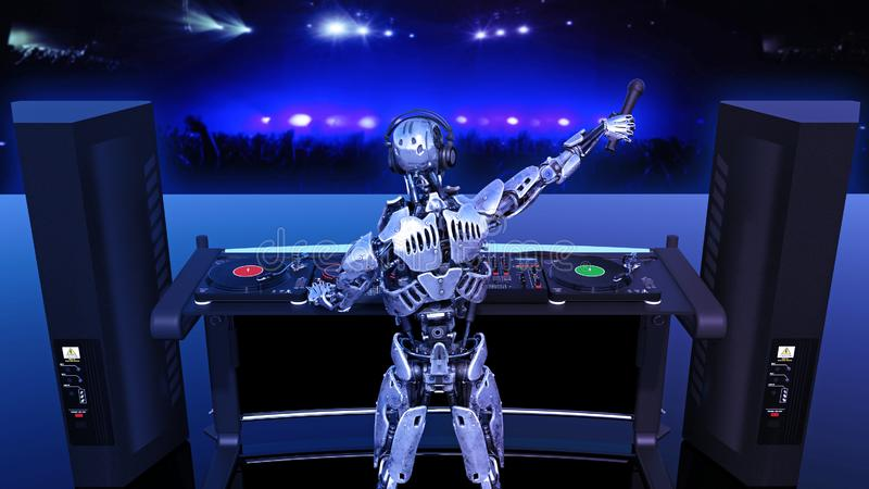 DJ Robot, disc jockey cyborg with microphone playing music on turntables, android on stage with deejay audio equipment, back view royalty free illustration