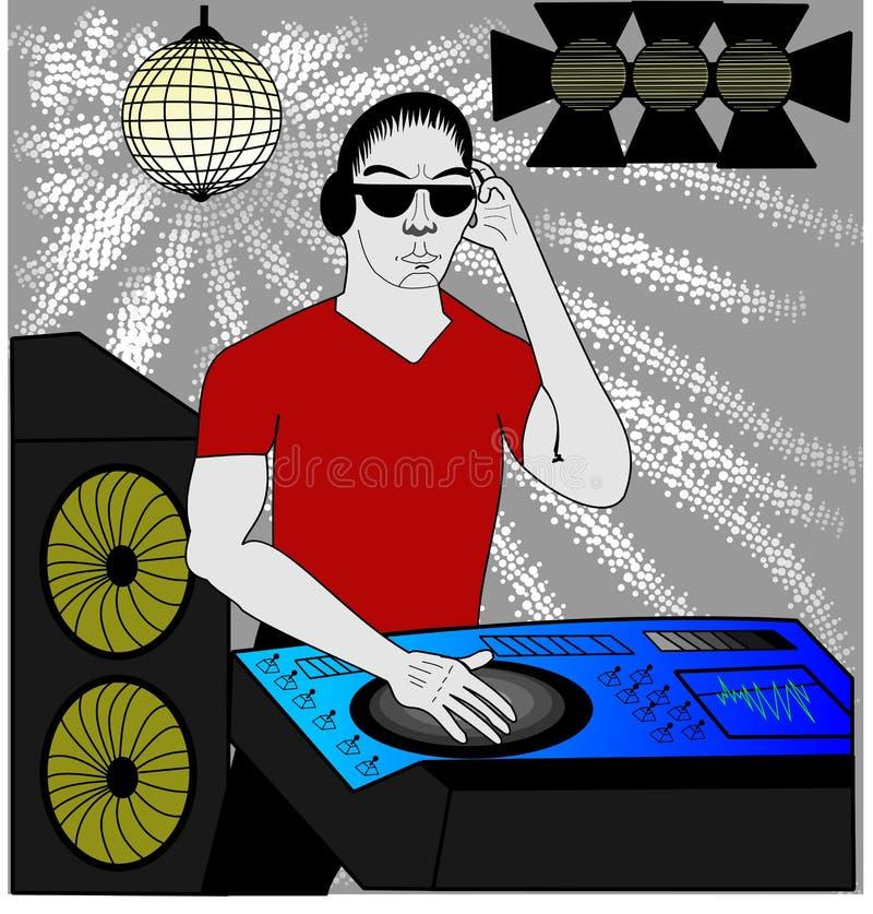 DJ in rood vector illustratie