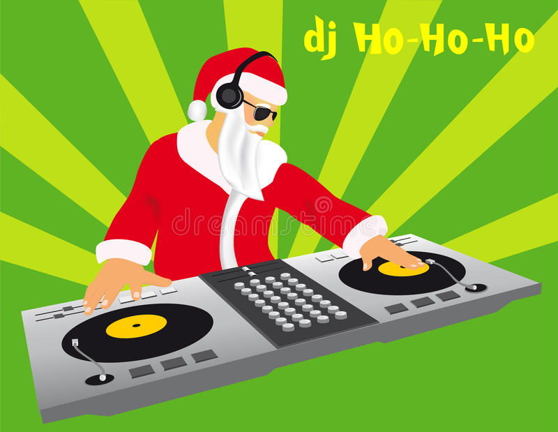 DJ Santa stock de ilustración