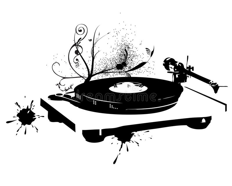 DJ se mezcla. Expediente de vinilo ilustración del vector