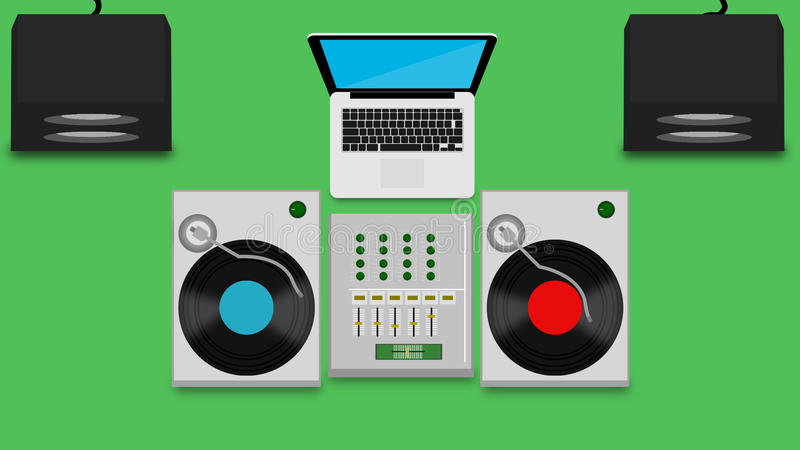 DJ SET. With laptop and repro boxes behind vector illustration
