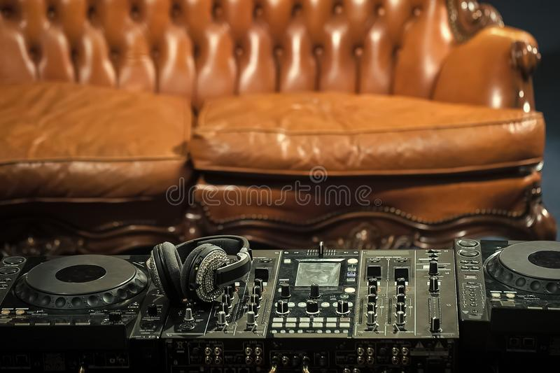 DJ setup. Mixer console royalty free stock photos