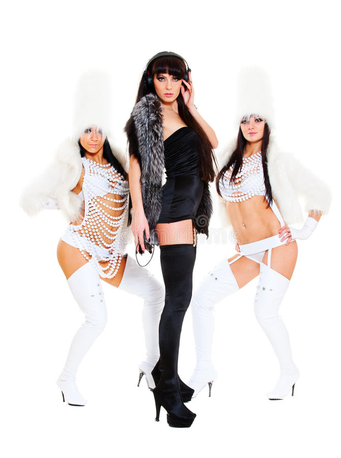 DJ 'sexy' com meninas go-go fotos de stock
