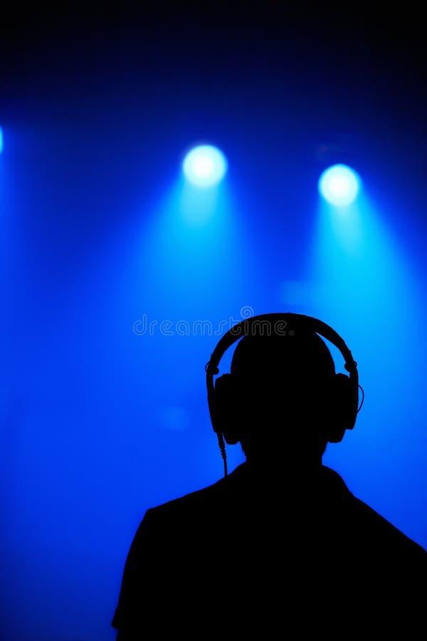 DJ siluetea fotos de archivo