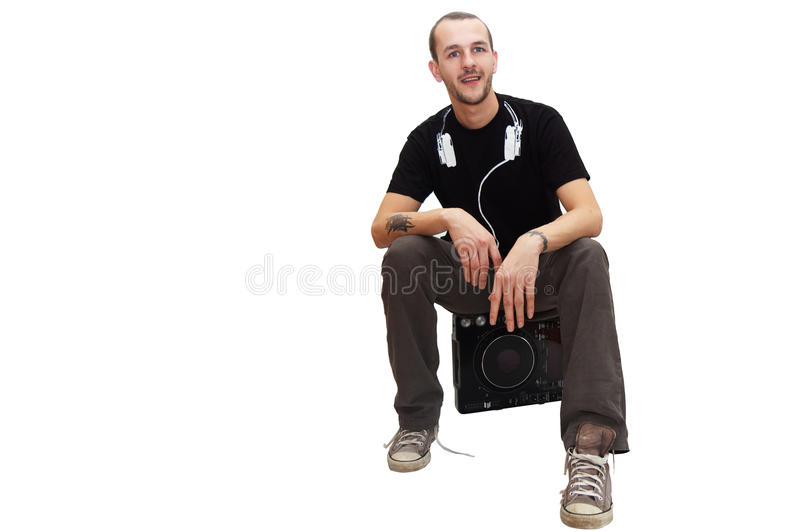 DJ sitzt stockfoto