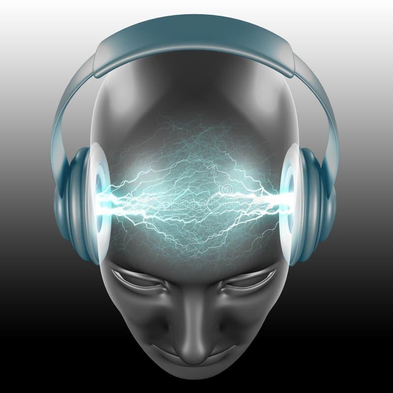 The DJ Sound. The DJ (Disc Jockey) is listening the sound