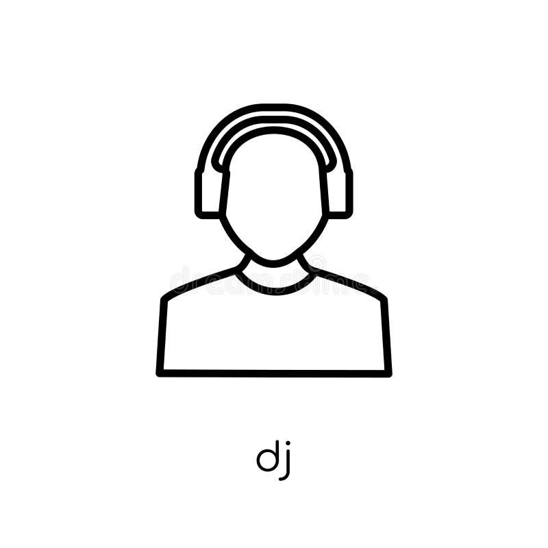 Dj-symbol Moderiktig modern plan linjär vektordj-symbol på vit backg vektor illustrationer