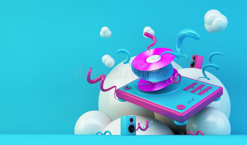 DJ turntable abstrakta ilustracja ilustracja wektor