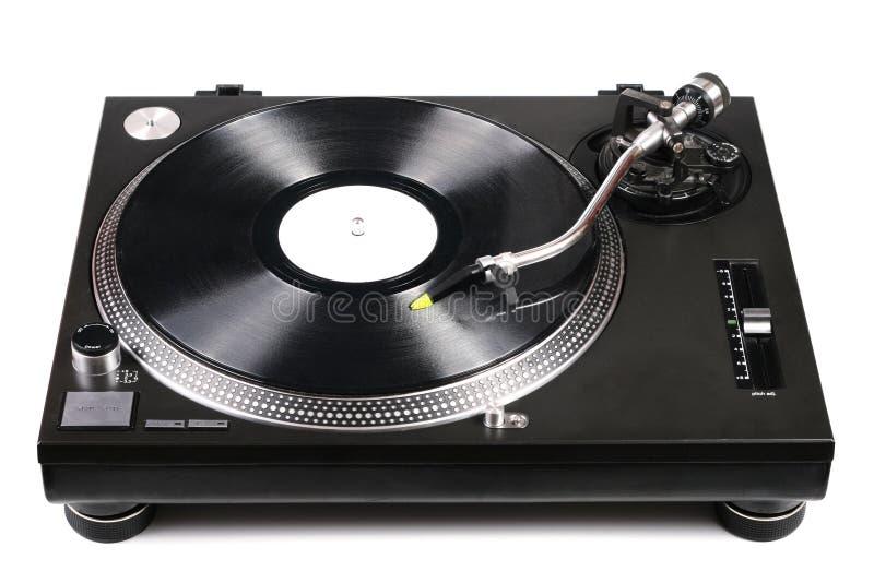 Dj turntable with tonearm on vinyl record. Dj turntable with needle on vinyl record on white royalty free stock photography