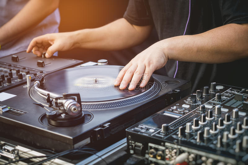 DJ with Turntables Music entertainment Event stock images