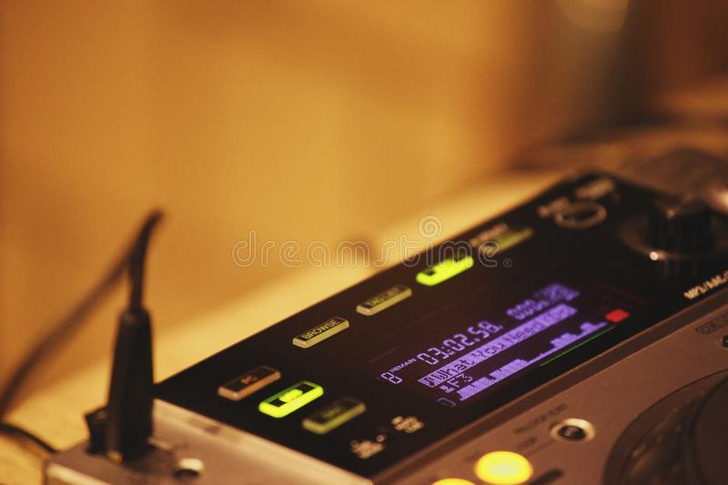 Dj turntables studio work day light royalty free stock images