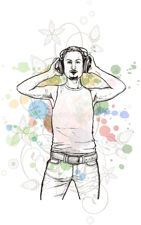 DJ u. Musikfarben mischen - Blumenkalligraphie lizenzfreie abbildung