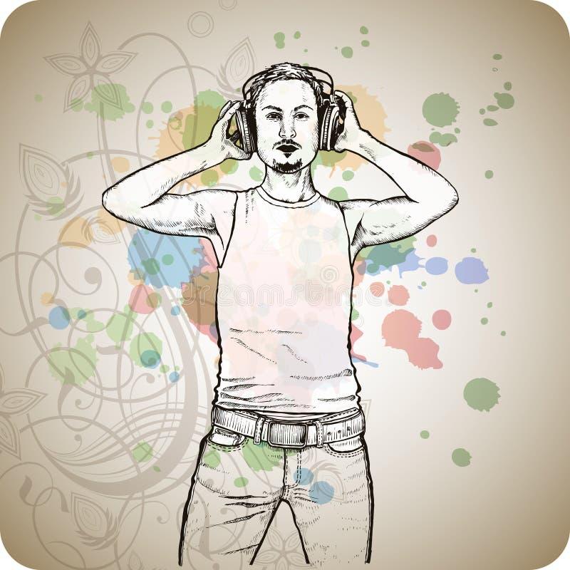 DJ u. Musikfarben mischen - Blumenverzierung lizenzfreie abbildung